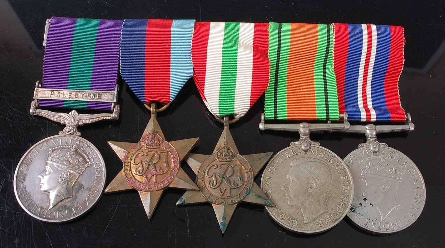 A group of five medals to include a George VI General Service medal (1918-1962) with Palestine