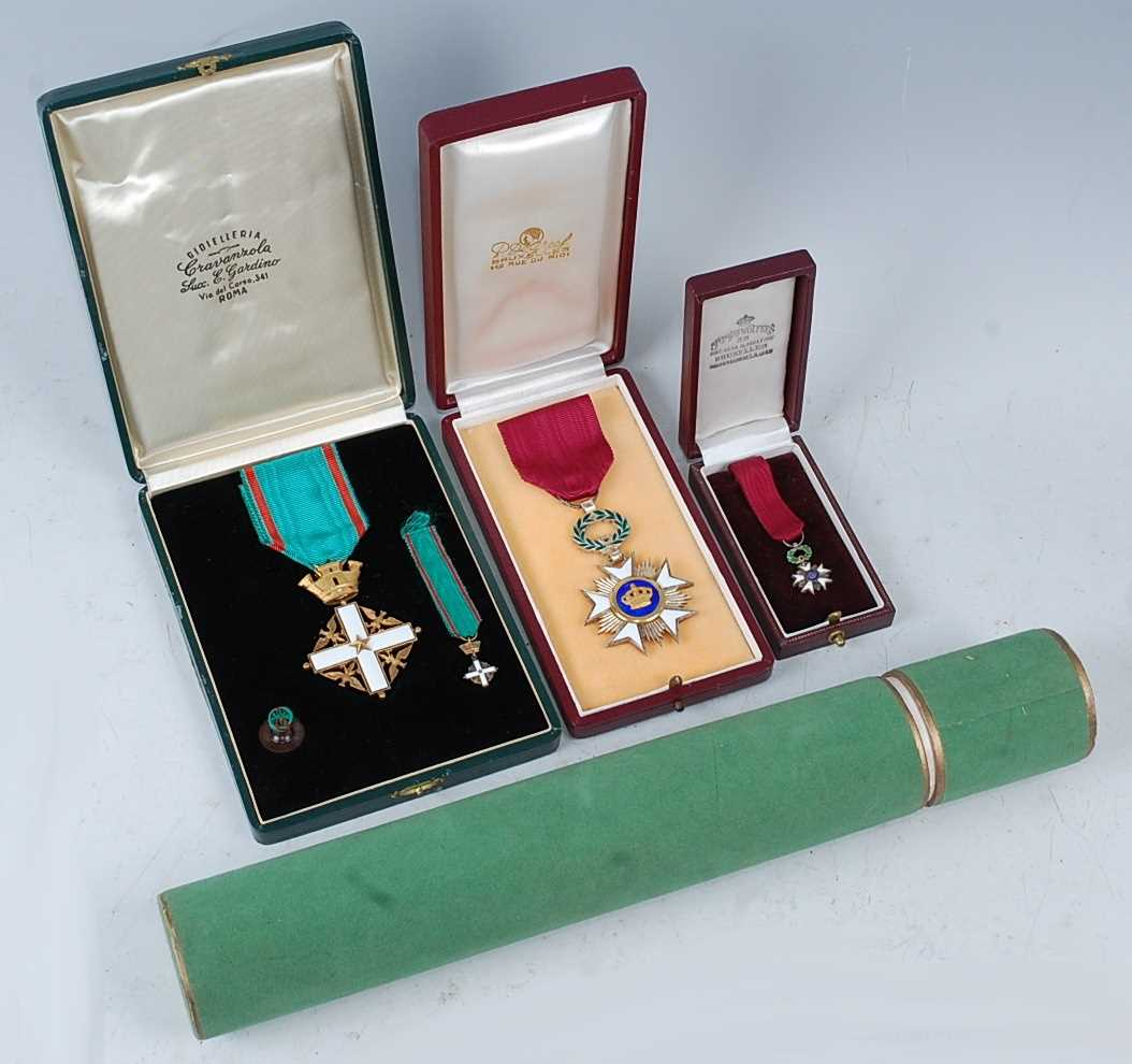 An Order of Merit of the Italian Republic, Knights 5th class breast badge, together with the