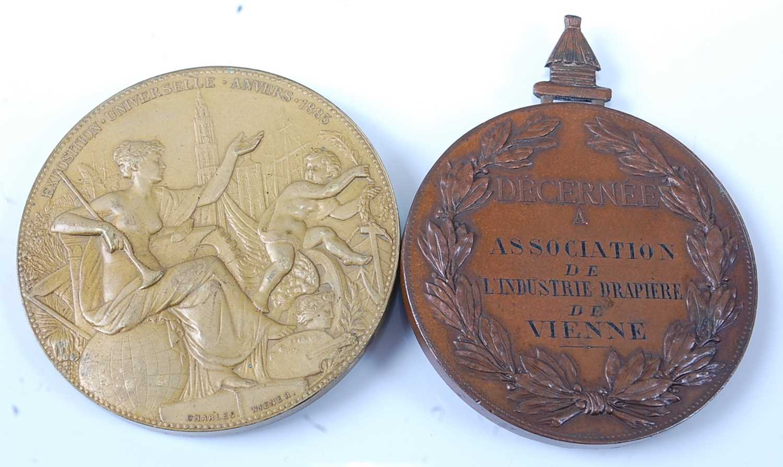 Belgium, Anvers 1885 Universal Exposition medal by Charles Wiener (1832-1887) obv; Leopold II, - Image 2 of 2