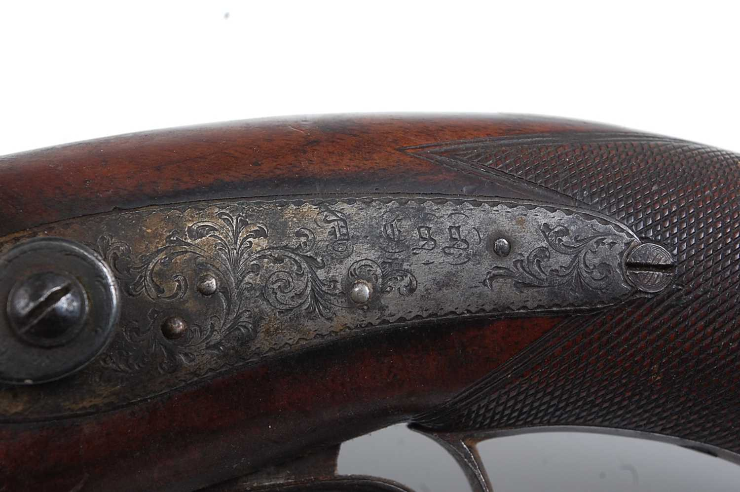 An early 19th century side by side double barrel percussion pistol by Durs Egg, the 15cm Damascus - Image 9 of 12