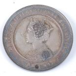 India, Calcutta International Exhibition 1883-84 silver medal, obv; crowned bust of Queen