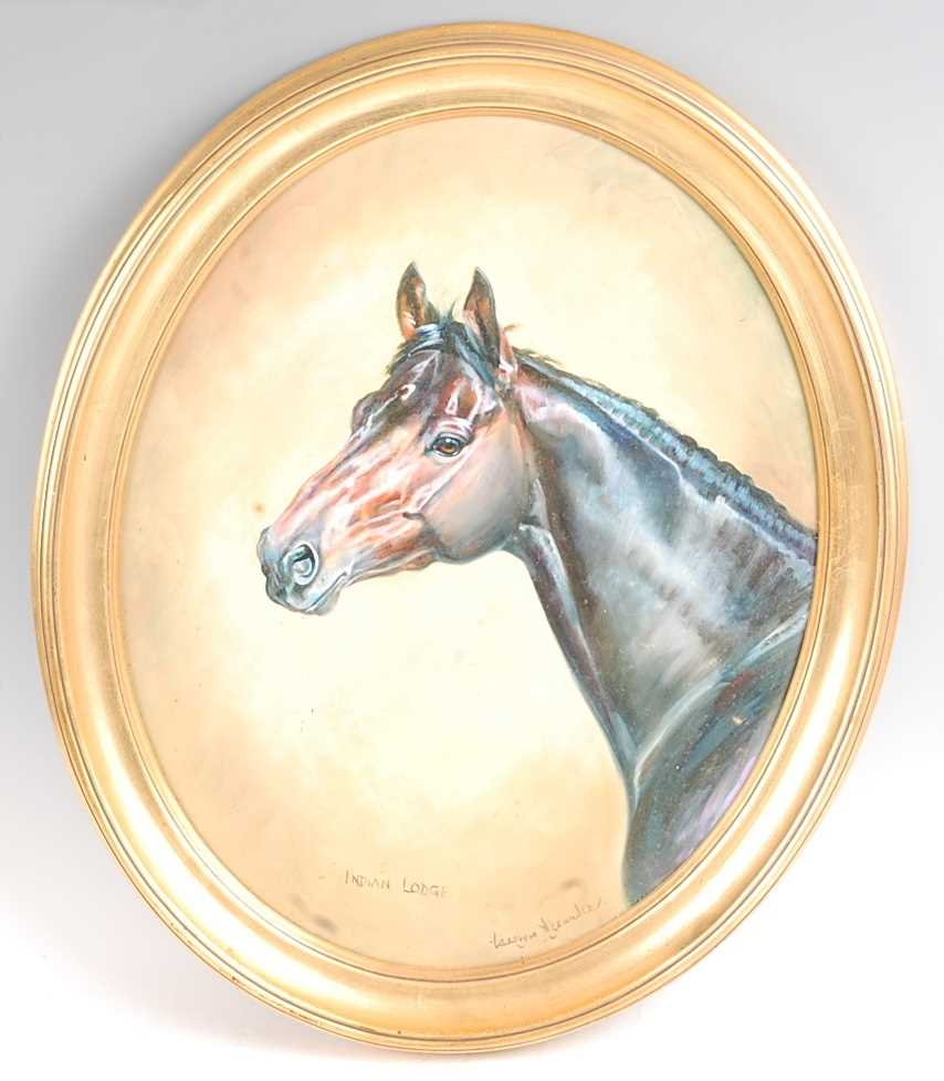 Carolyn Alexander, (20th century), profile portrait of the racehorse Indian Lodge, oil on board,