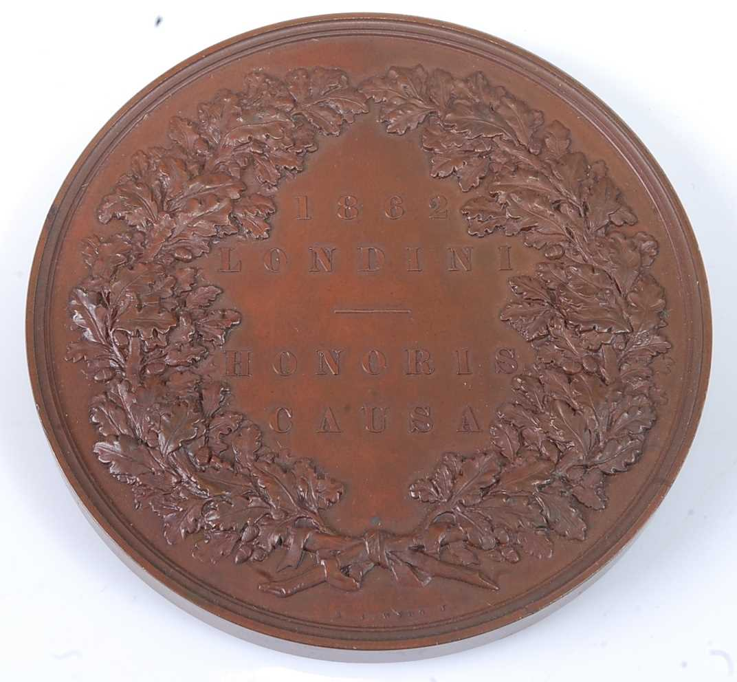 London Exhibition 1862, prize medal in bronze, awarded to REV. A. DUCANE. CLASS XXIX., engraved by - Image 2 of 6