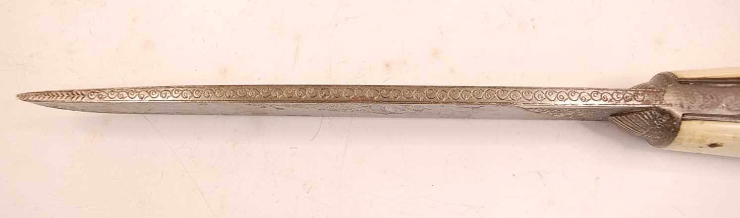 A 19th century Ottoman Bichaq, having a 20cm single edged blade (shortened) and two piece ivory - Image 6 of 9