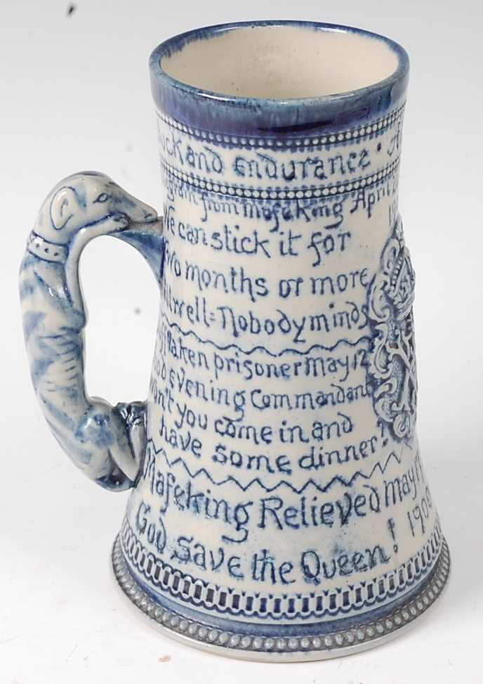 A late Victorian stoneware siege of Mafeking commemorative mug by Horace Elliott, the body of - Image 2 of 7