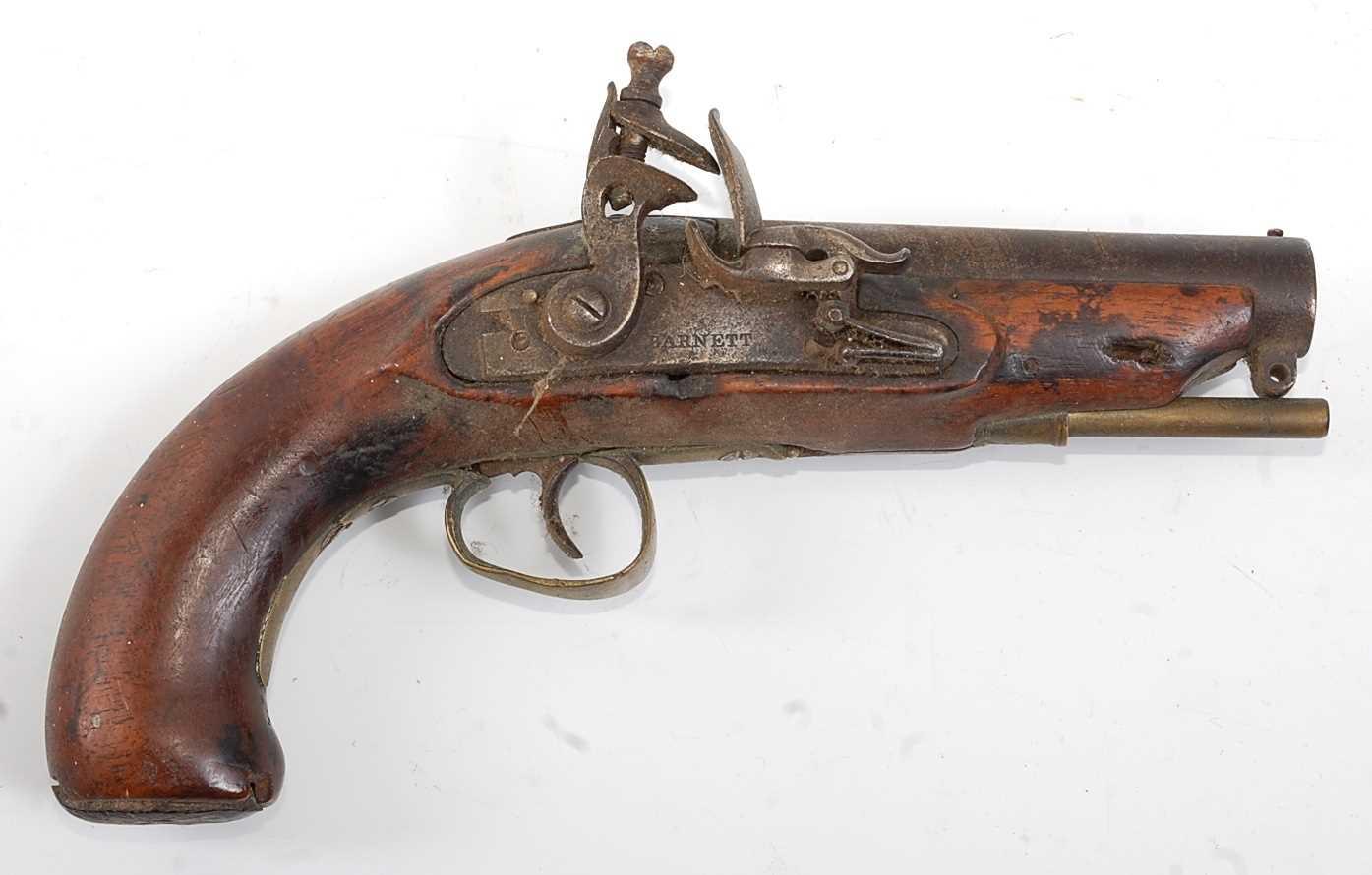 An early 19th century flintlock Revenue Customs Service Issue pistol, the 11cm circular barrel - Image 2 of 9