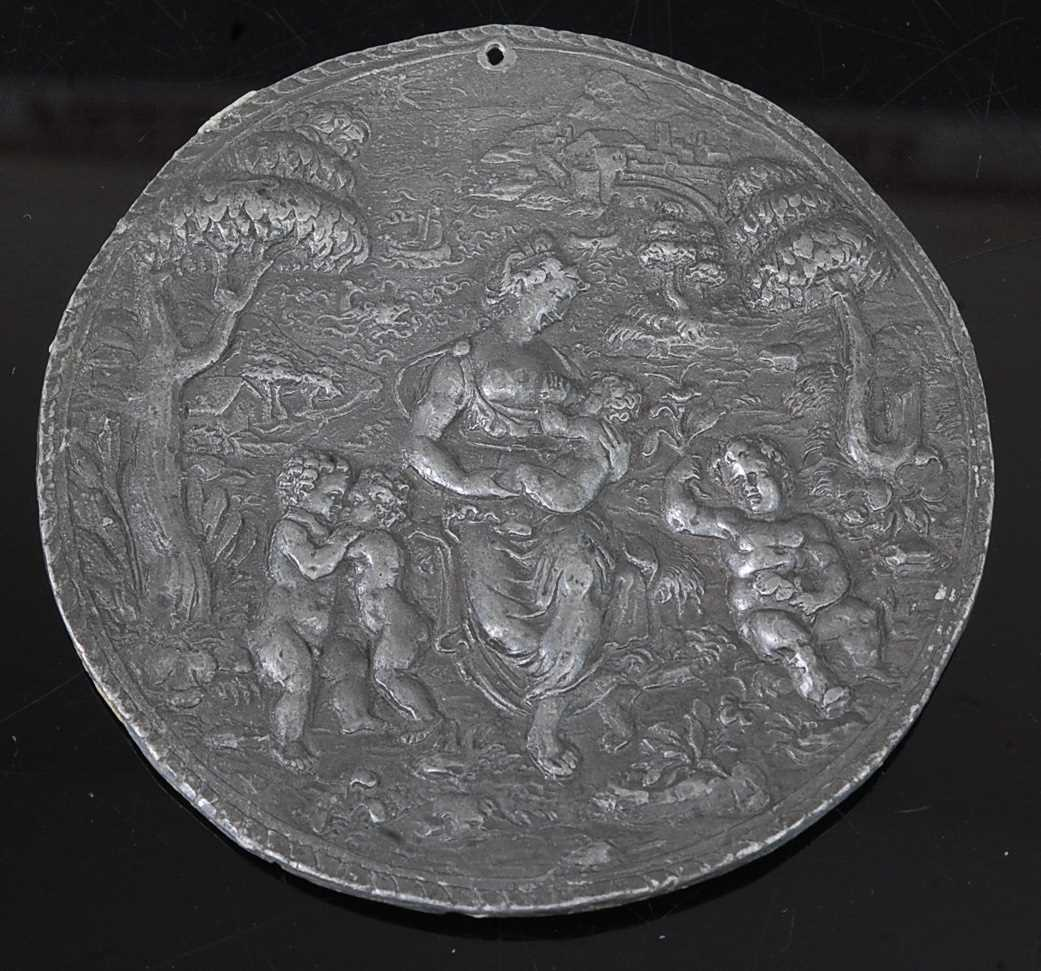 In the manner of Hans Jamnitzer II (German c.1538-1603) - a lead roundel depicting the allegory of