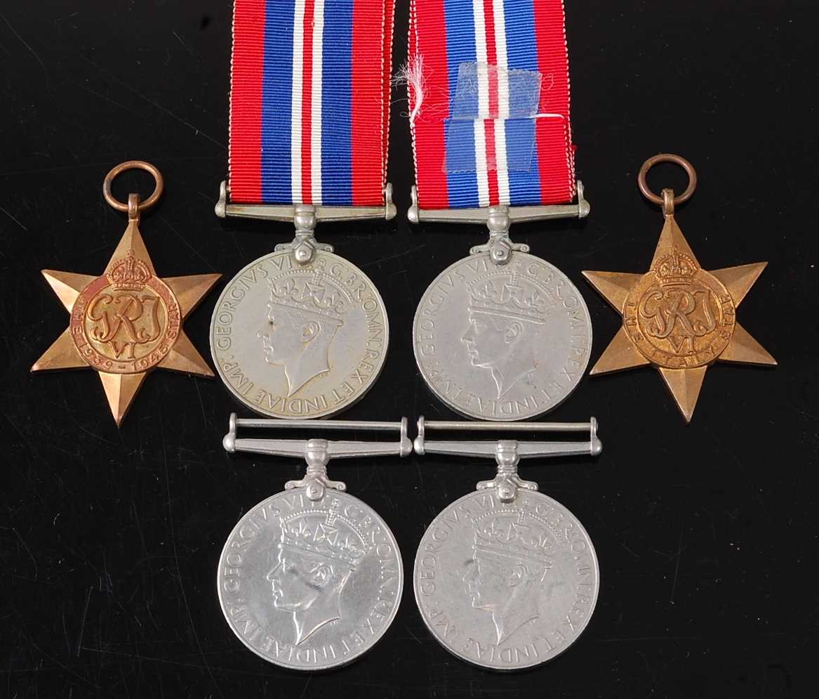 A collection of six WW II medals to include 1939-1945 Star, Italy Star and War medal x4. (6)