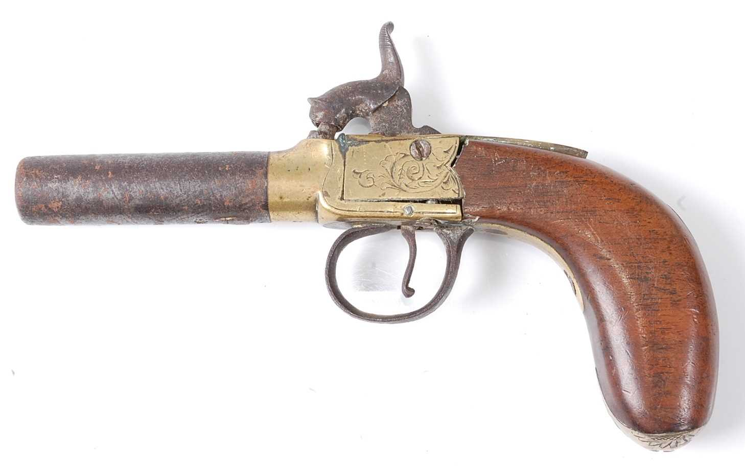 A 19th century percussion box-lock pocket pistol, having a 6cm turn-off steel barrel with engraved - Image 3 of 7