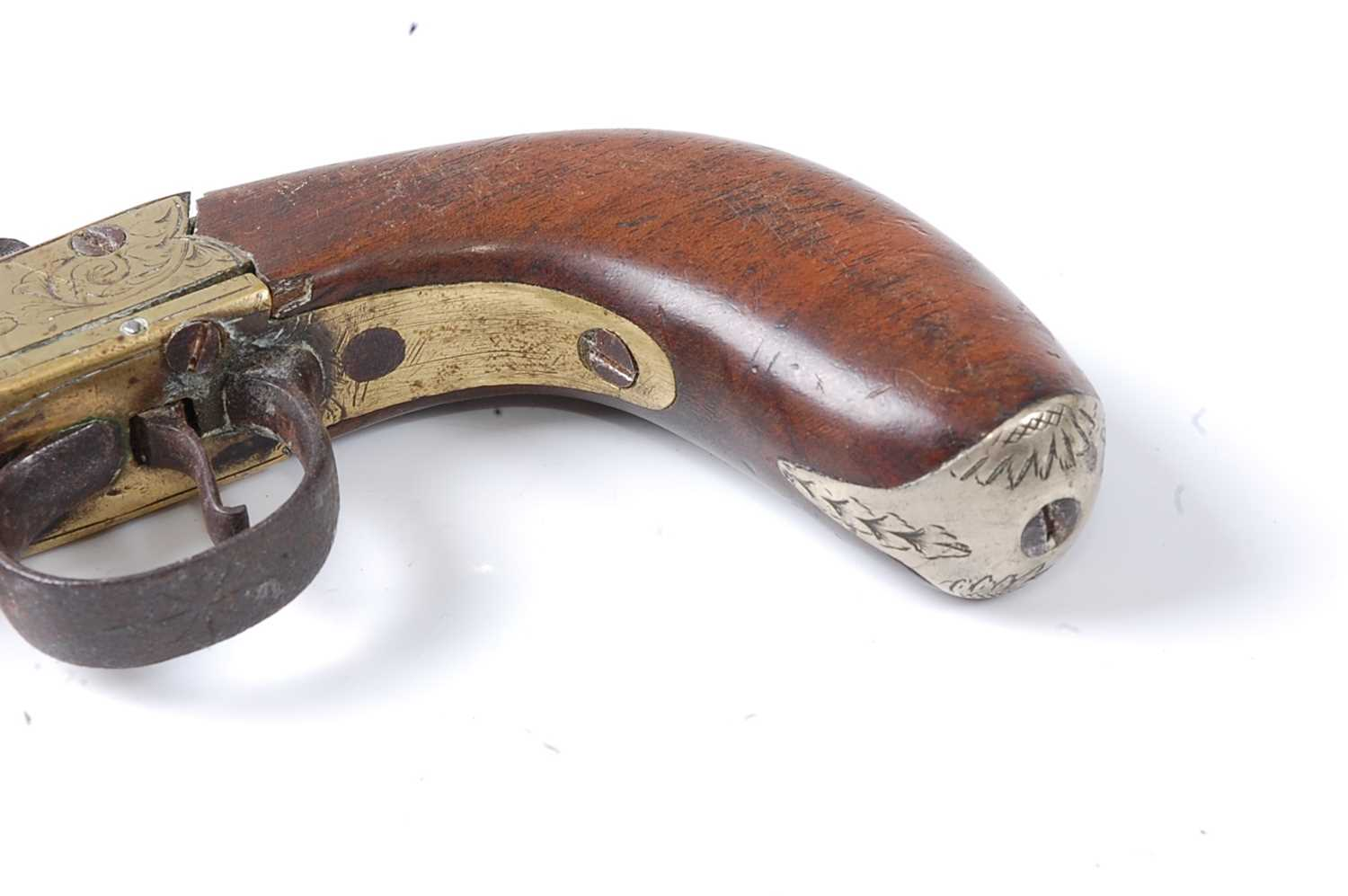 A 19th century percussion box-lock pocket pistol, having a 6cm turn-off steel barrel with engraved - Image 7 of 7