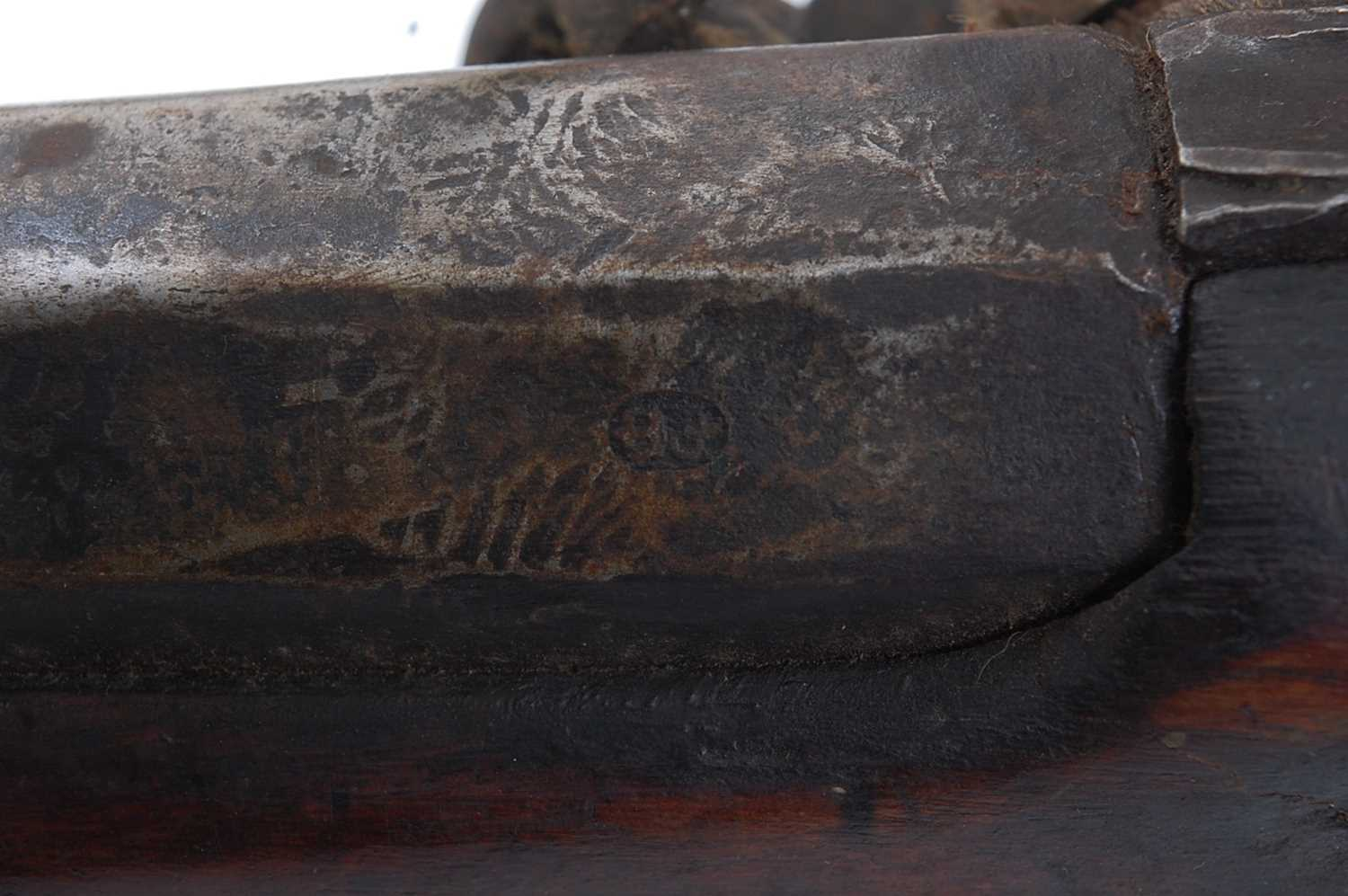 A large early 19th century flintlock rifle, the 133cm barrel marked Dublin and numbered F2905, the - Image 7 of 9