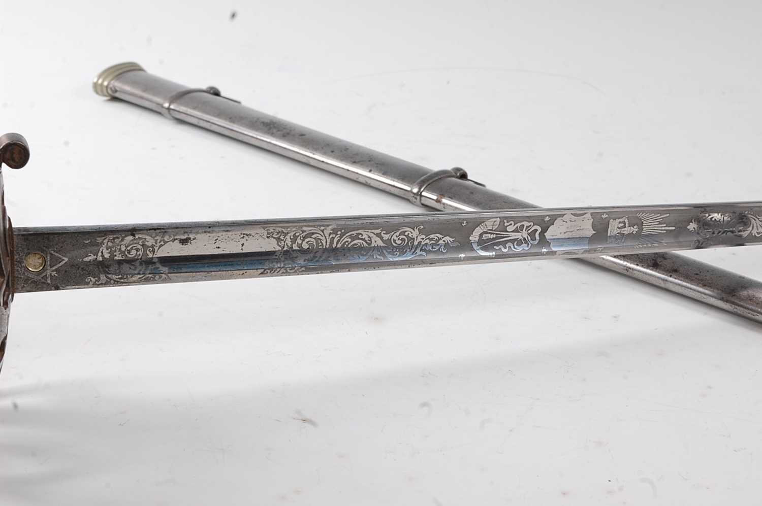 A George V 1827 pattern Rifle Officer's sword, the 83cm straight blade etched with a crowned - Image 6 of 7