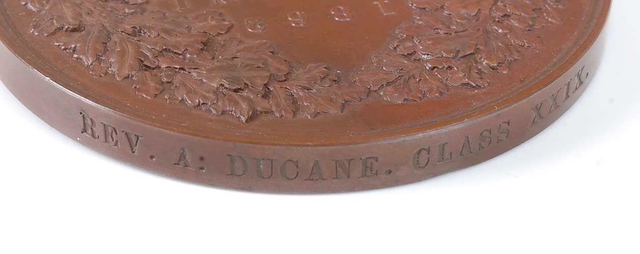 London Exhibition 1862, prize medal in bronze, awarded to REV. A. DUCANE. CLASS XXIX., engraved by - Image 3 of 6