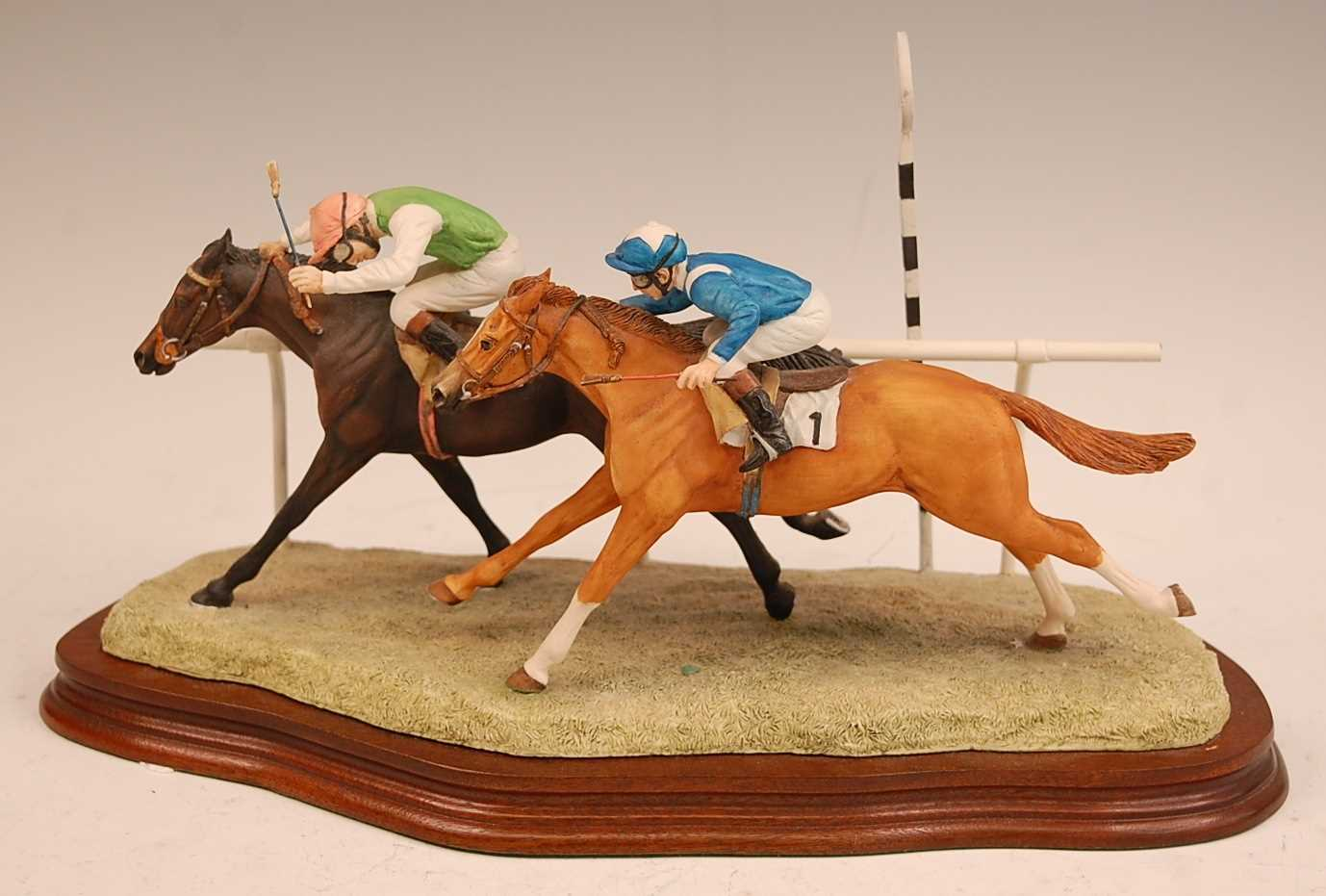 A Border Fine Arts figure group, The Final Furlong, model no. L.109 designed by Anne Wall, limited