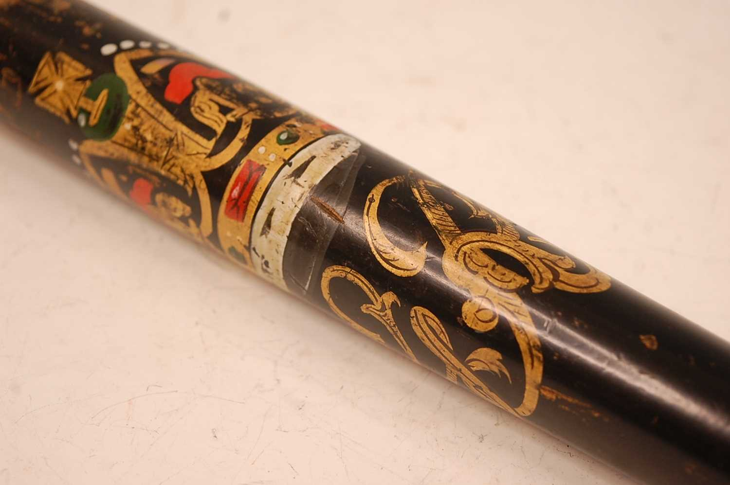 A George III policeman's truncheon, polychrome painted with a crown over GR, having a ring turned - Image 2 of 6