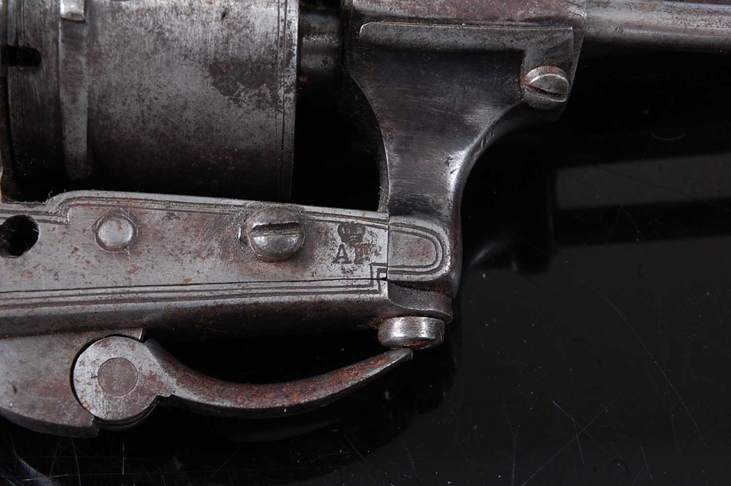 A 19th century Belgian 7mm six shot pin fire revolver, the 8.5cm octagonal barrel marked to the left - Image 5 of 8