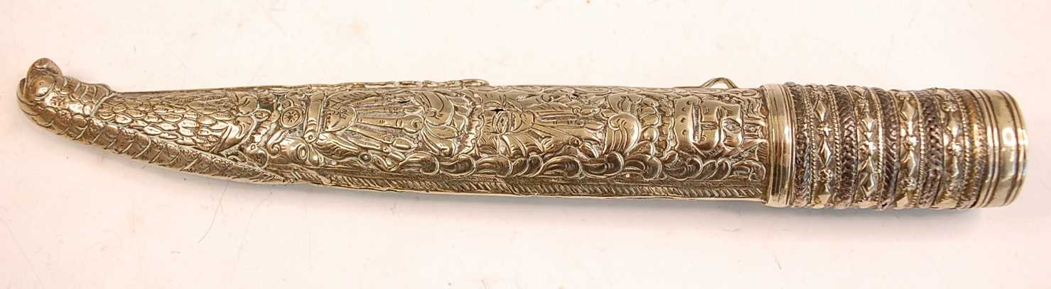 A 19th century Ottoman Bichaq, having a 20cm single edged blade (shortened) and two piece ivory - Image 7 of 9