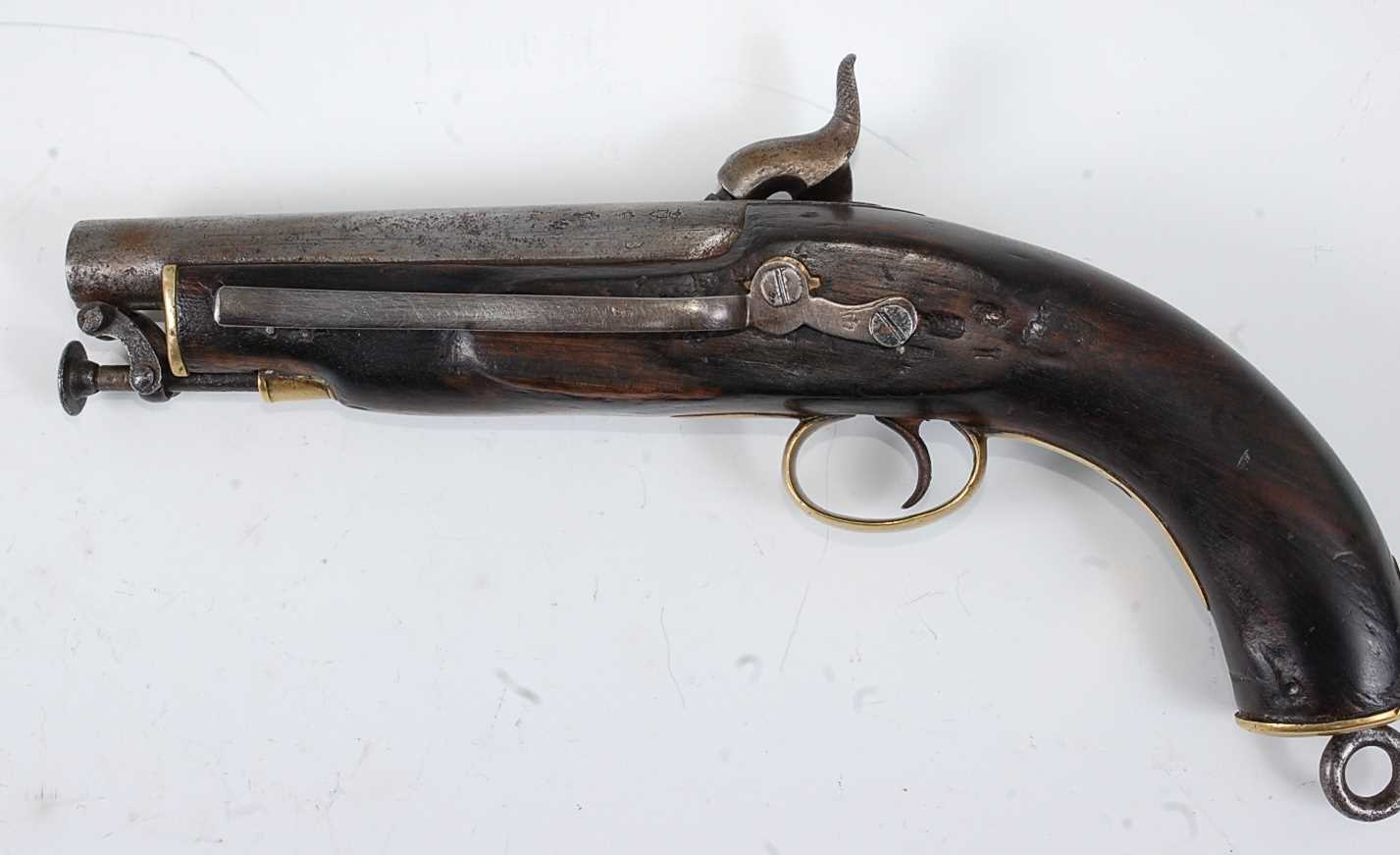 A 19th century Sea Service percussion belt pistol, the 15cm barrel with various inspection stamps - Image 4 of 5
