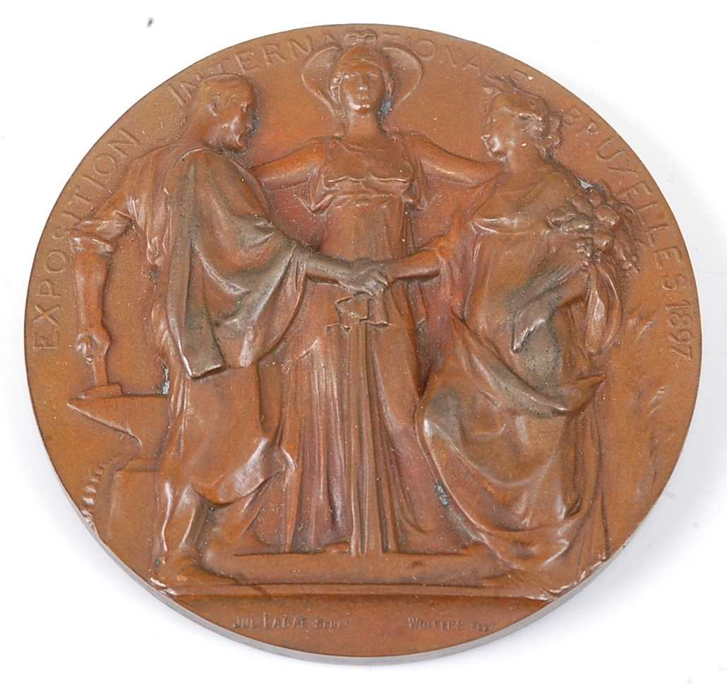 Belgium, Brussels International Exposition 1897, bronze medal, designed by Wolfers, engraved by