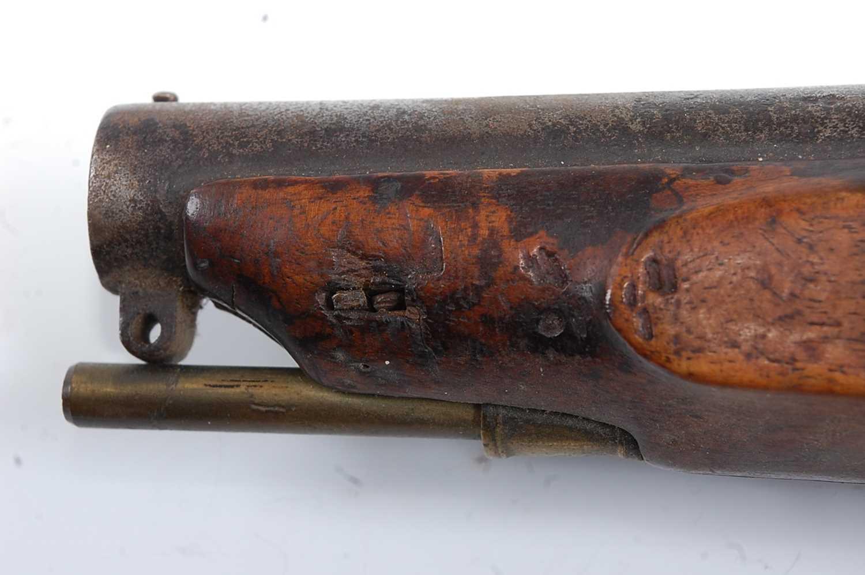 An early 19th century flintlock Revenue Customs Service Issue pistol, the 11cm circular barrel - Image 9 of 9