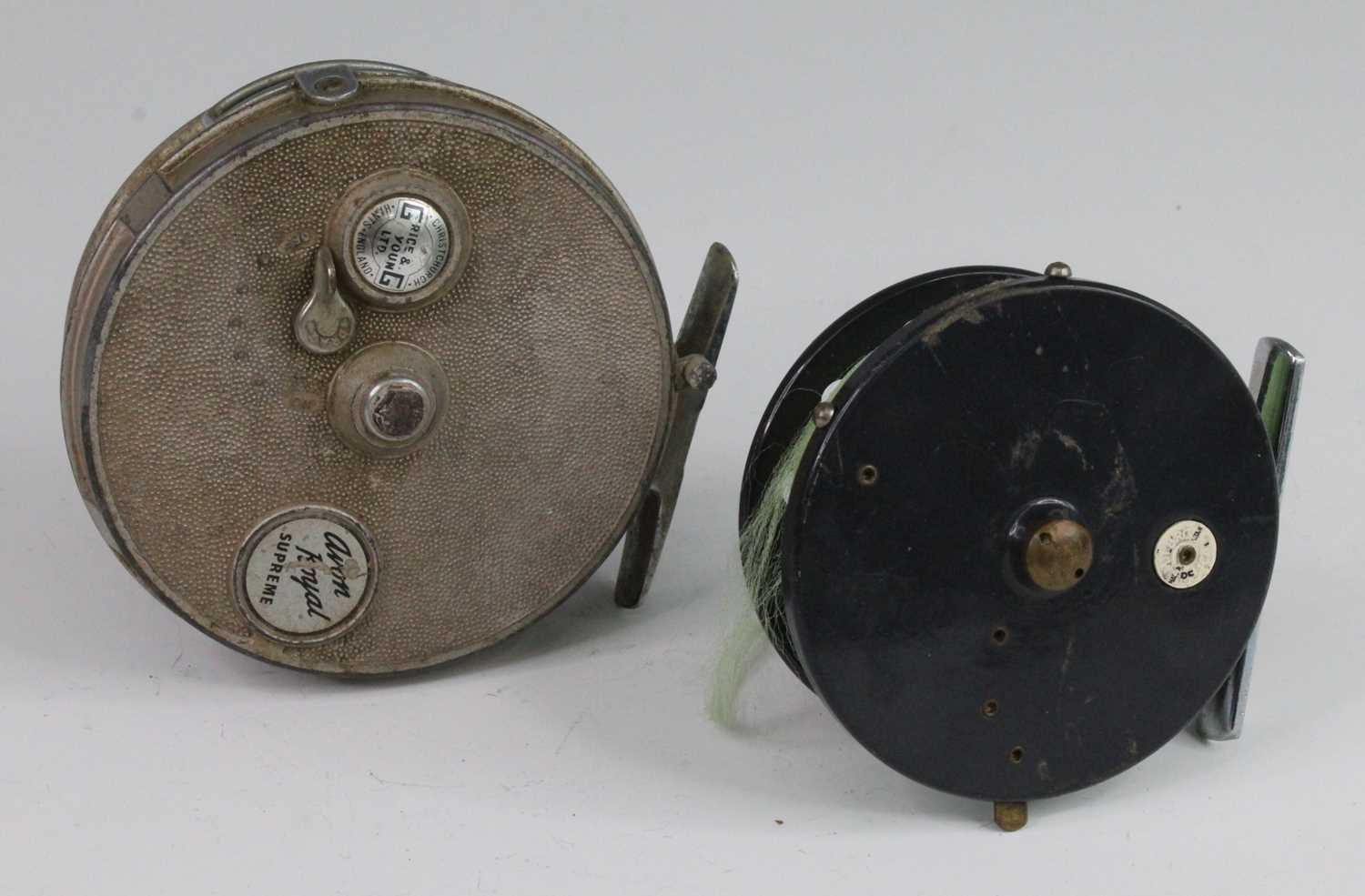 """A Grice & Young Ltd Avon Royal Supreme 4 1/2"""" centre pin reel, together with a Milbro Pelican 3 3/4"""""""