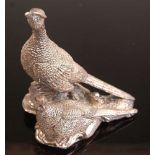 A comtemporary filled silver table ornament in the form of a cock and hen pheasant, maker Camelot