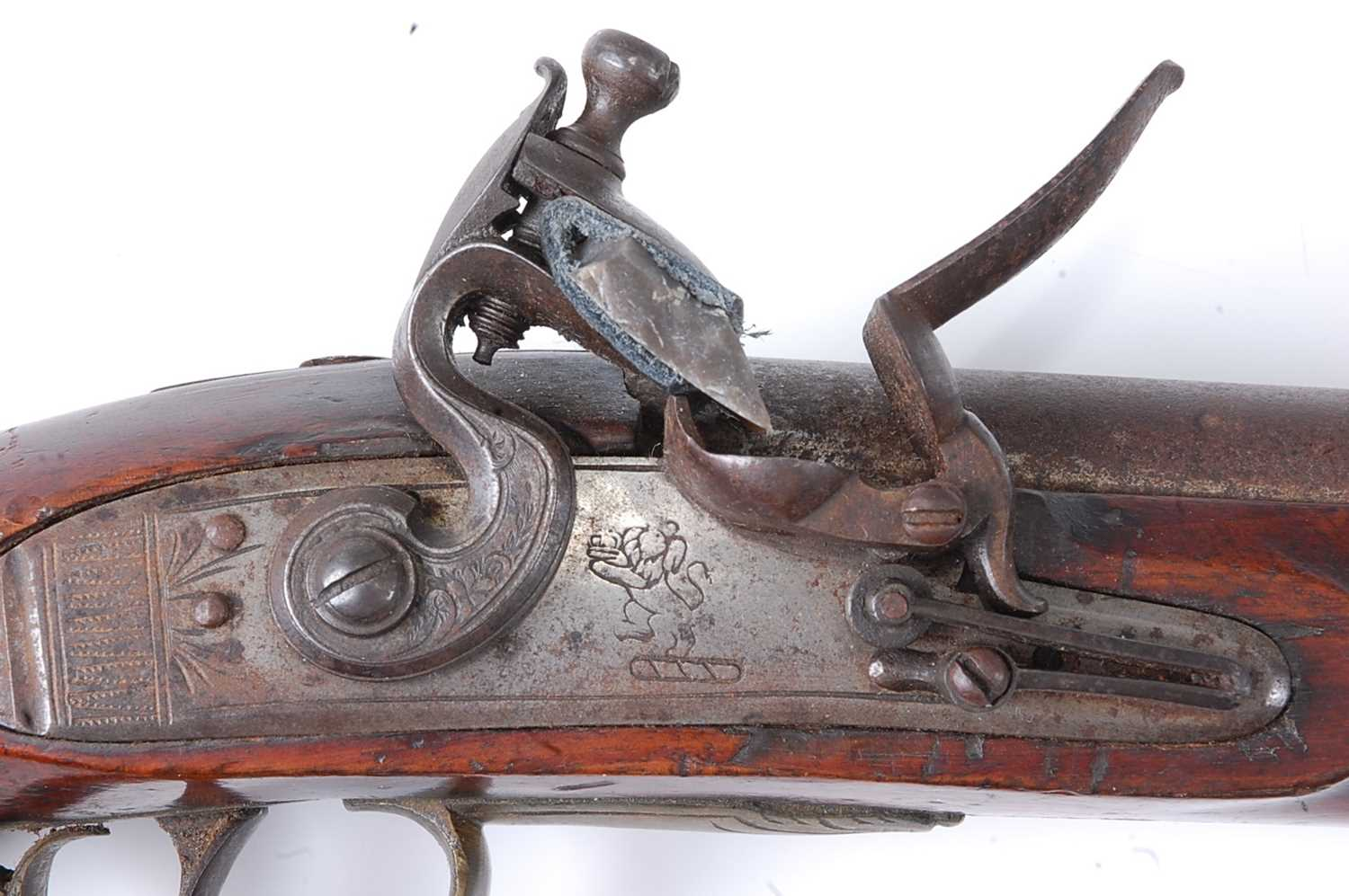 An early 19th century East India Company flintlock pistol, the 22cm barrel marked London, the - Image 2 of 7