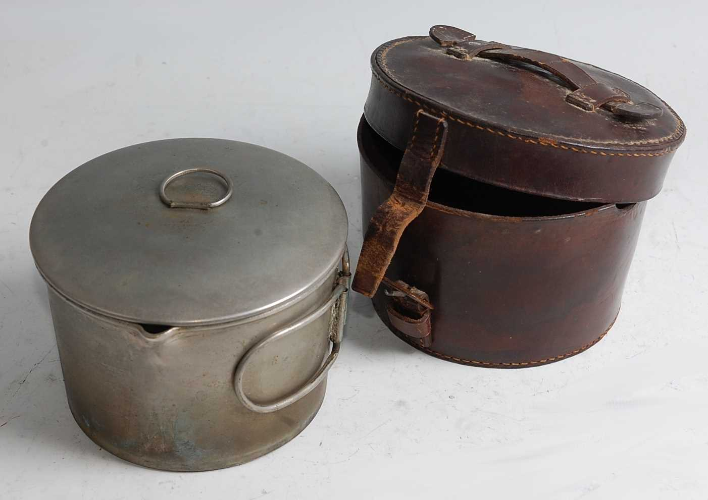 An Army & Navy Co-op Stores Ltd. campaign spirit stove and saucepan, in fitted leather case,