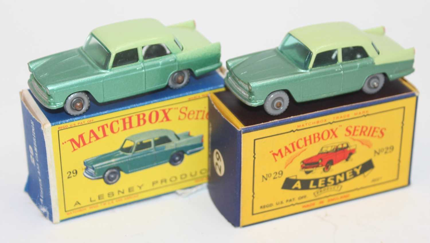 Matchbox group of 2x 29b Austin Cambridge model variations with very good boxes as follows: Matchbox