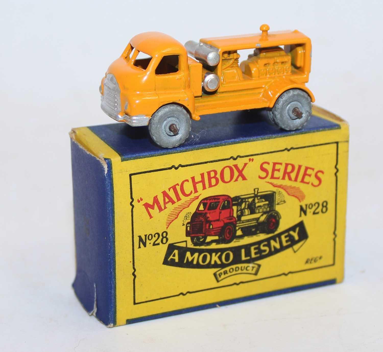 Matchbox Regular Wheels 28a Bedford Compressor Truck in orange-yellow body with silver trim, metal