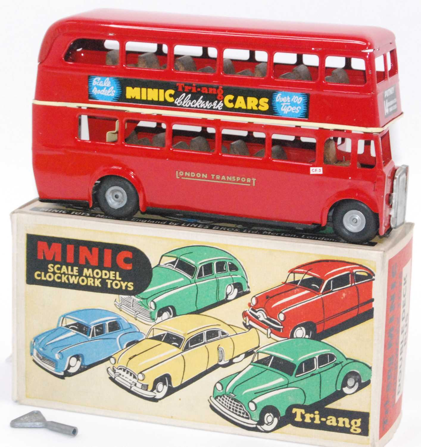 """Boxed Triang Minic London Double Deck Bus, red """"Penguin"""" on one side advert, Triang Minic advert - Image 2 of 2"""