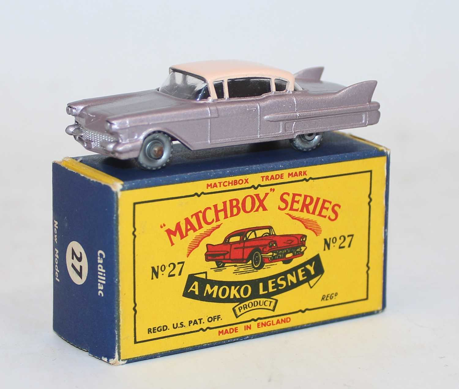 Matchbox Lesney 1-75 series No.27C Cadillac Sedan in metallic lilac body with pink roof and