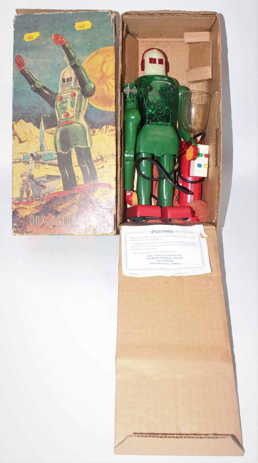 A Dux (Made in West Germany) No.150 Astro Man Robot, comprising of a green body with red feet and
