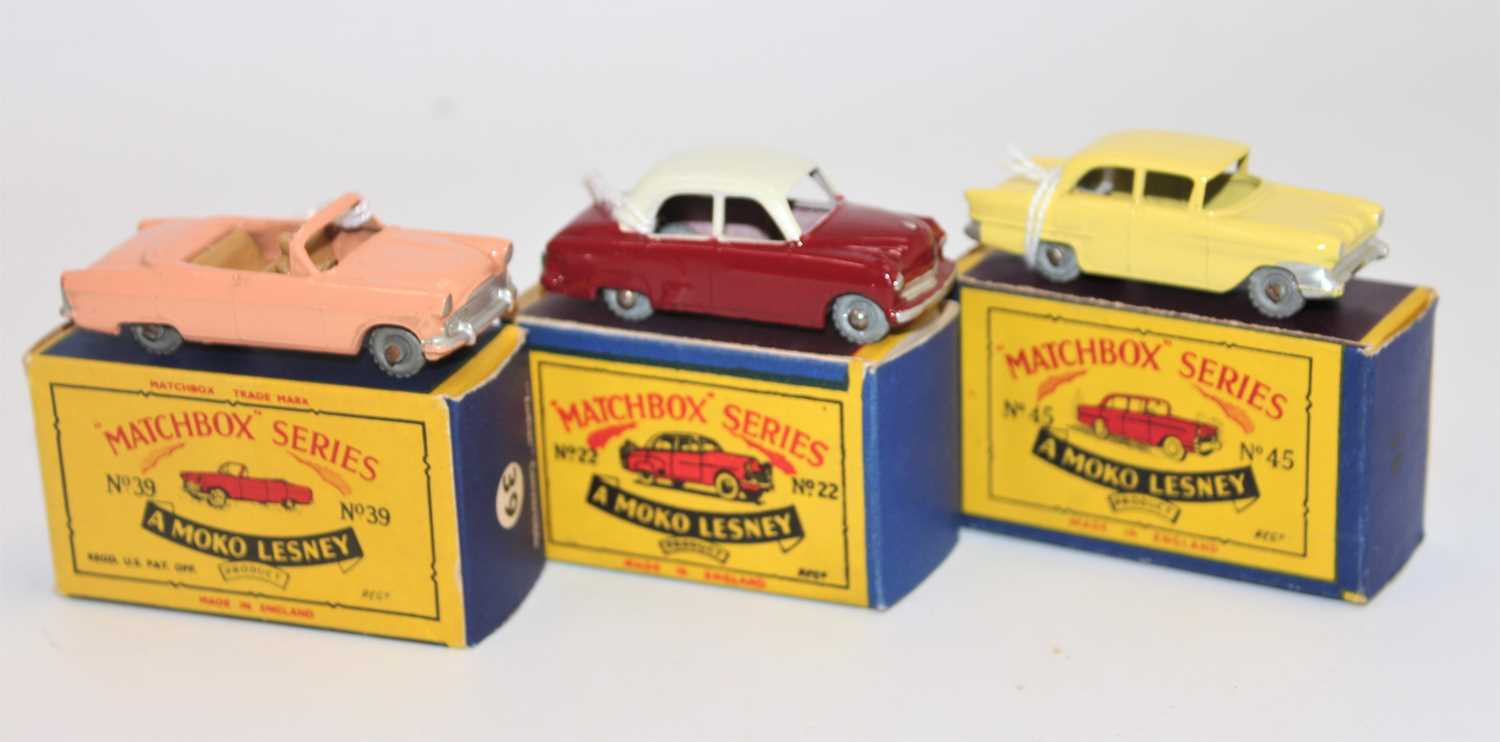 Matchbox series group of 3 models boxed as follows: No.22 Vauxhall Cresta in cream and maroon with - Image 2 of 3