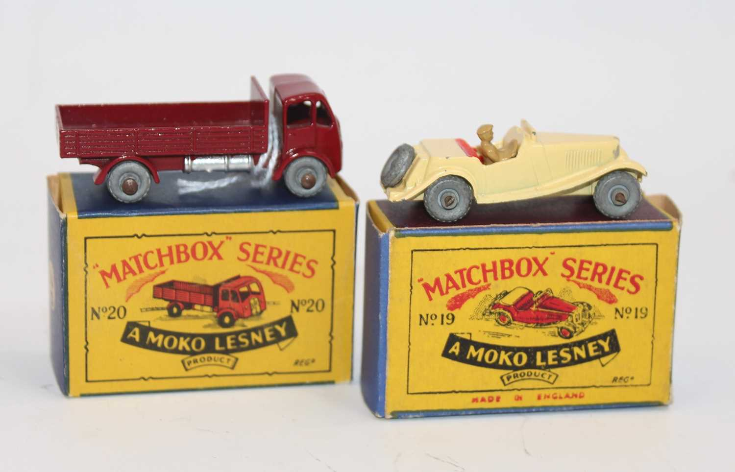 Matchbox group of 2 models as follows: Matchbox 19a MG TD. in cream with red seats, metal wheels and - Image 2 of 2