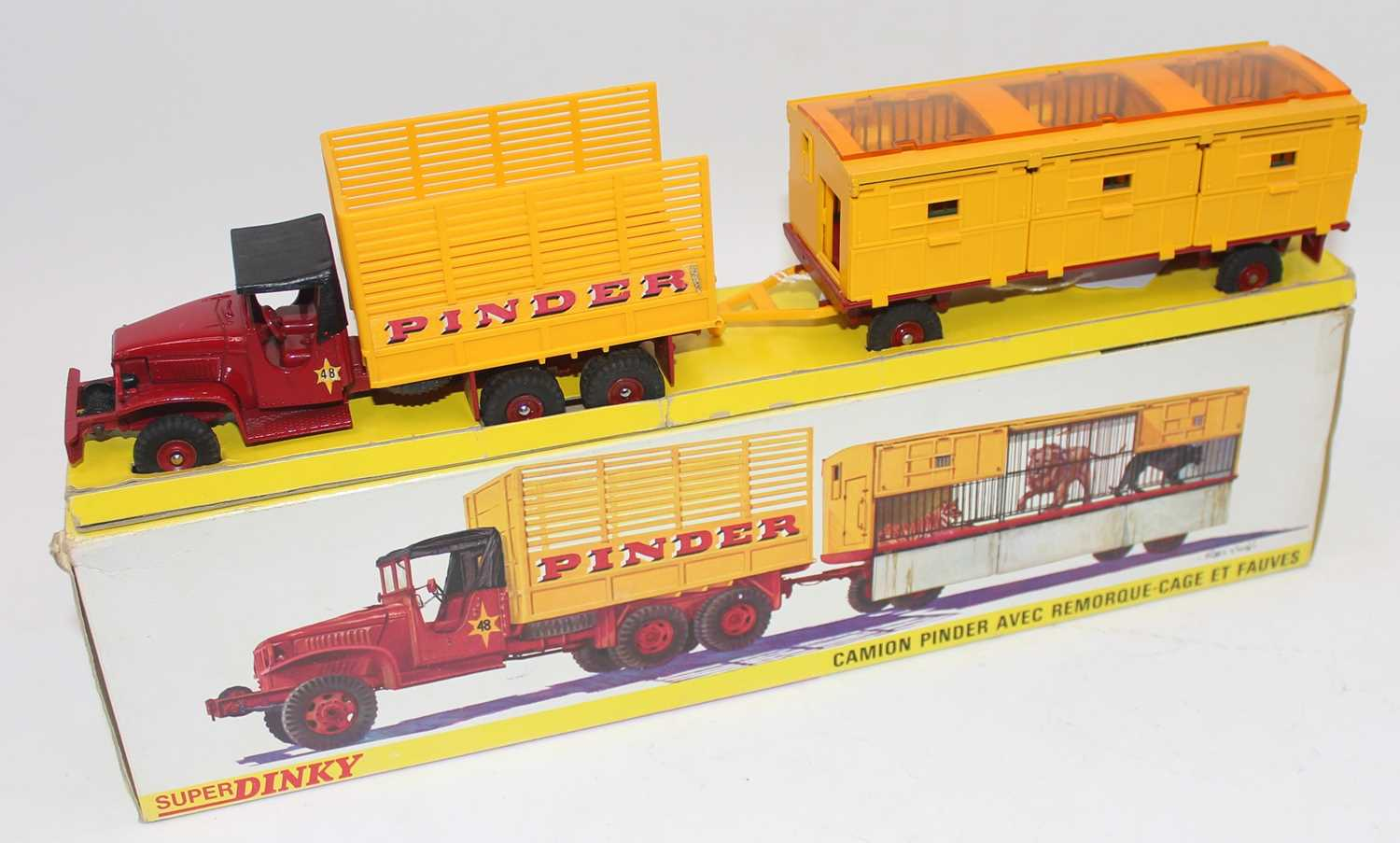 """Original French Dinky No.881 GMC Circus Lorry and Trailer """"Pinder"""", comprising of GMC Truck,"""