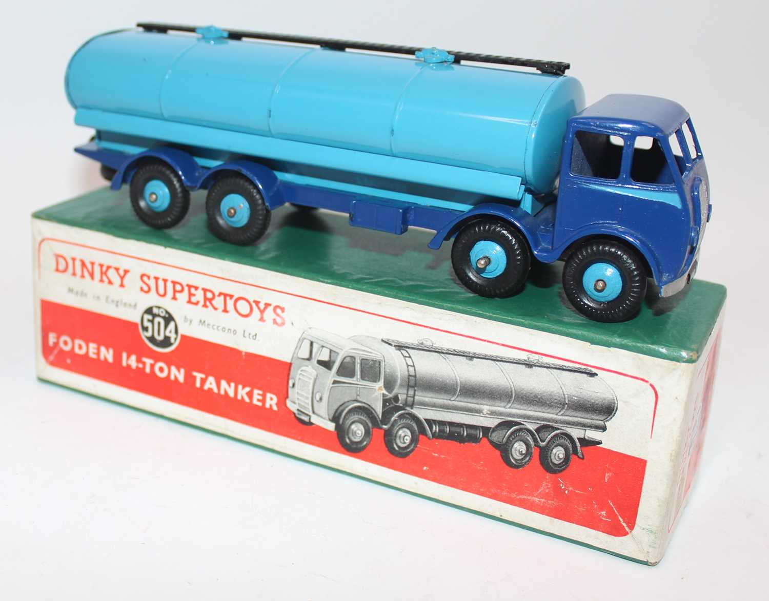 Dinky Toys, No.504 Foden 14-Ton Tanker, dark blue chassis and cab, light blue flash with light - Image 2 of 2