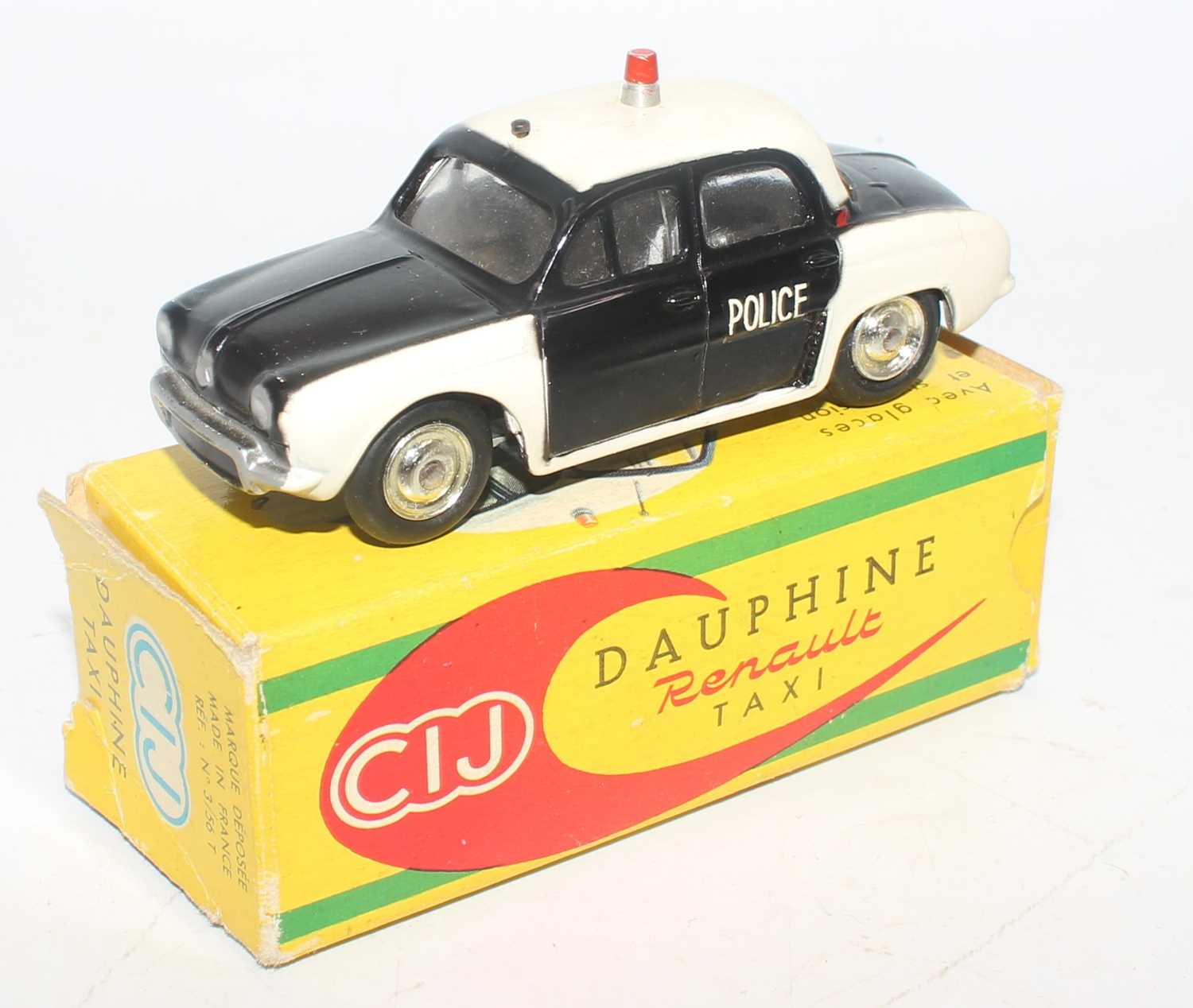 CIJ model No. 3/57 Renault Dauphine taxi comprising of two-tone white and black body with Police