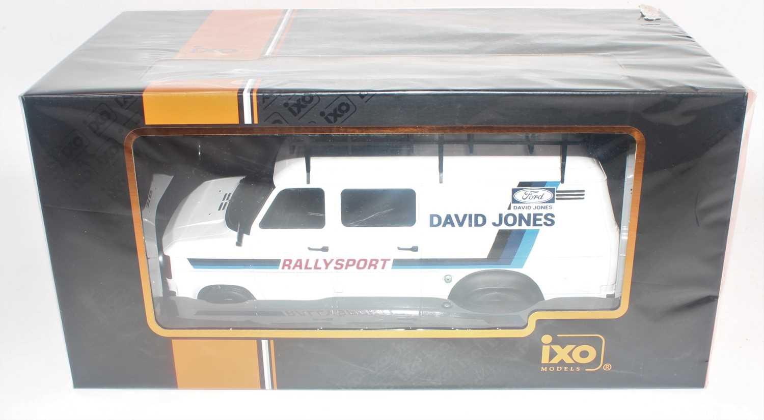 An Ixo Models, model No.18RMC033XE 1/18 scale model of a Rally Assistance 1979 Ford Transit Mk2 race