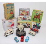 Collection of mixed tinplate, diecast, and plastic toys to include Marx Hill Climbing Jeep,