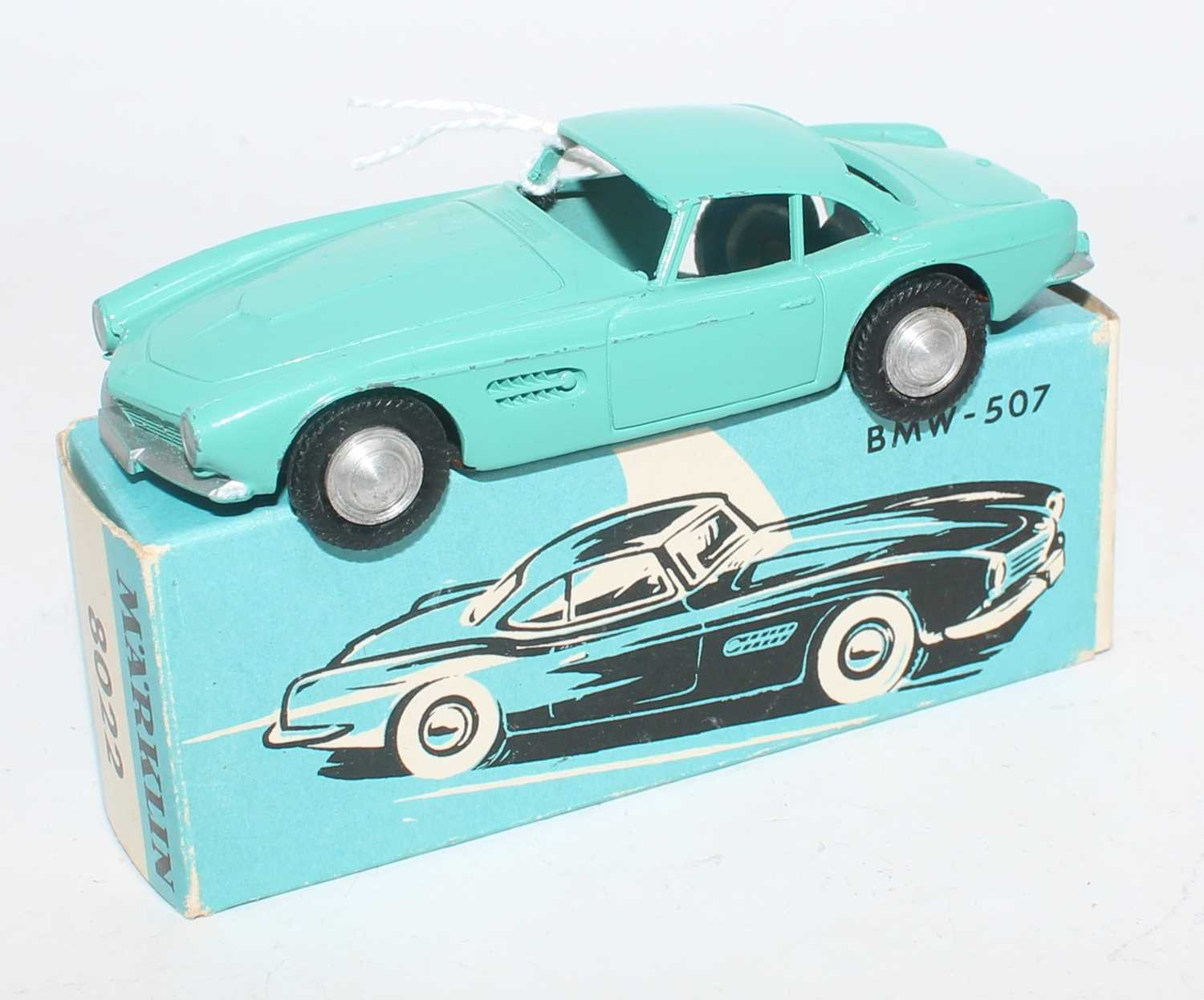 Marklin No.8022 model of a BMW 507 in turquoise with spun hubs and silver detailing, in the original