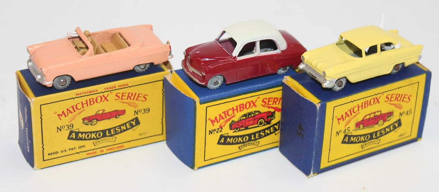 Matchbox series group of 3 models boxed as follows: No.22 Vauxhall Cresta in cream and maroon with