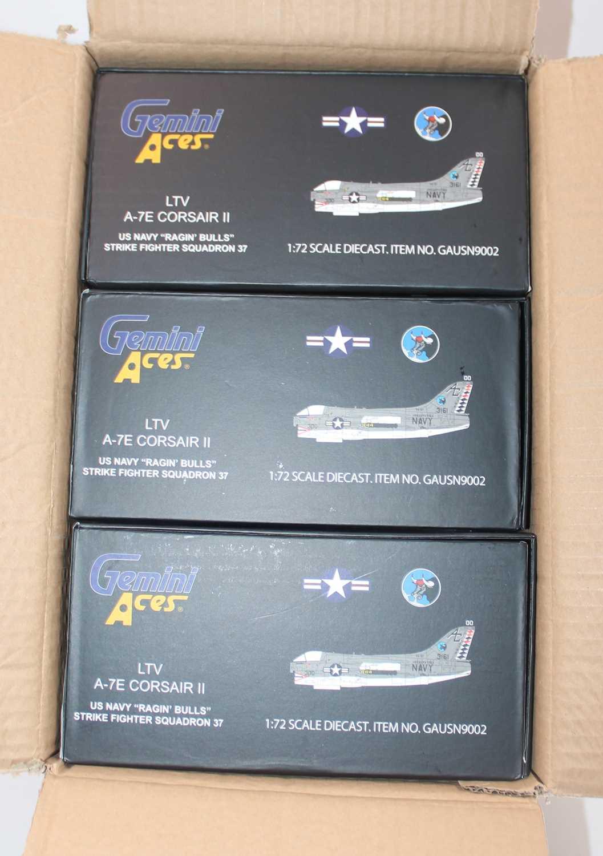 A Gemini Aces trade box containing three model No.GAUSN9002 1:72 US Navy Raging Bulls LTV A-7E - Image 2 of 2