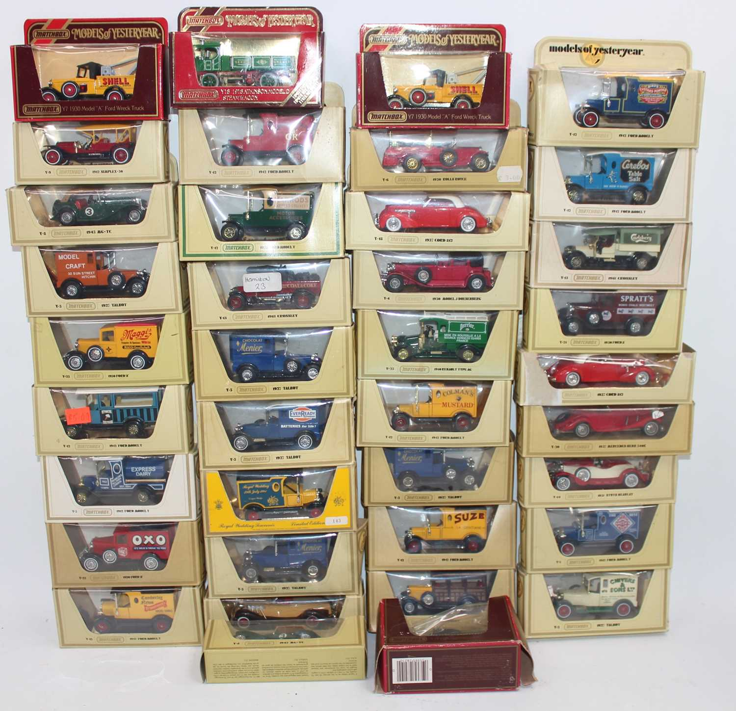 """Matchbox group of 38 boxed Yesteryear models to include x2 Y7 Model A Ford Wreck Truck in """"Shell"""""""