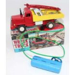 Asahi of Japan, tinplate and battery operated model of a Wreck Truck, finished in red, white and