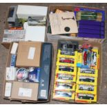 Four boxes containing a quantity of mixed modern issue diecast, plastic kits and accessories,