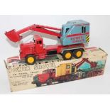 SSS (Japan) Power Shovel of Diesel Truck, tinplate, and push-button control, comprising red and