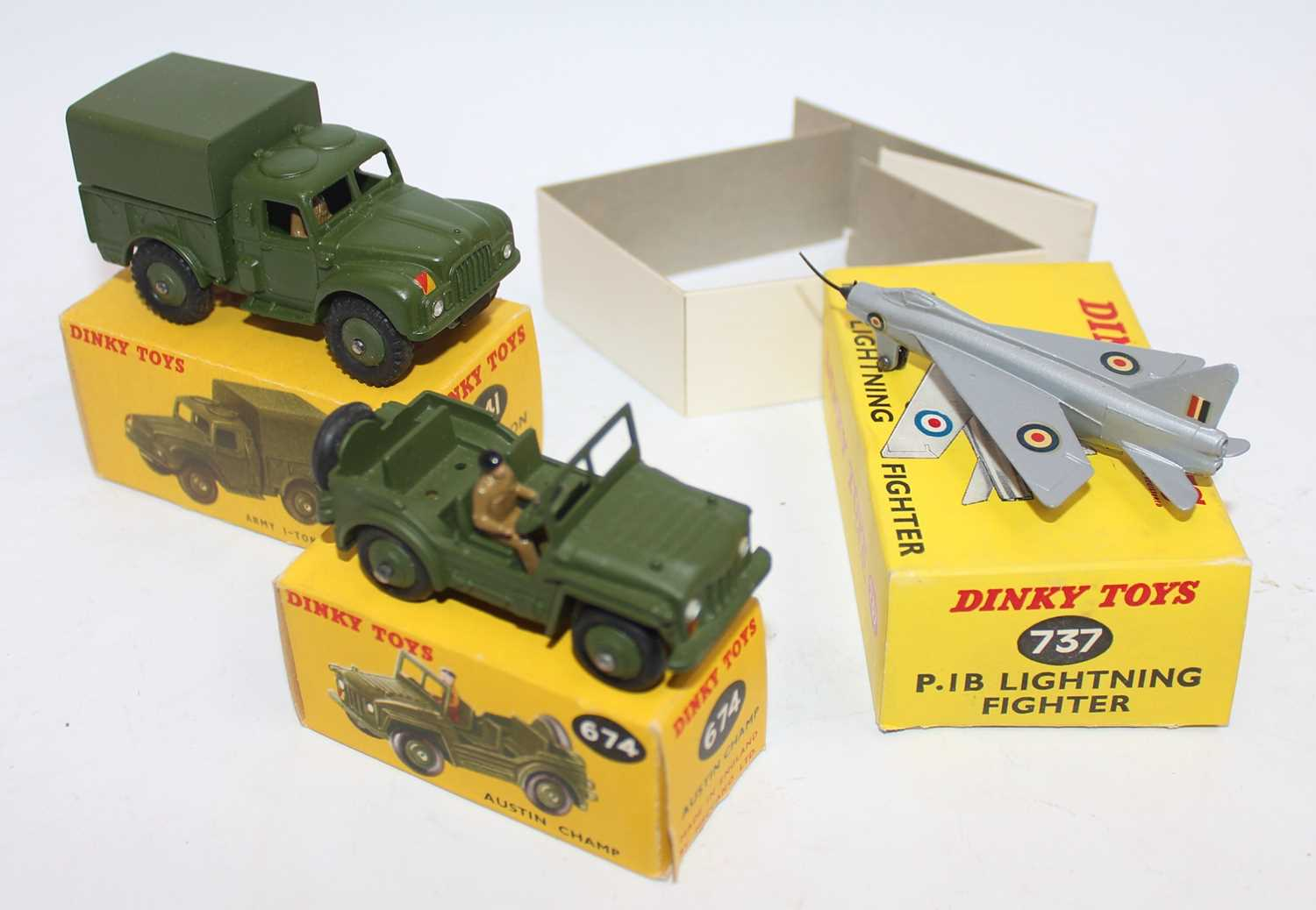 Dinky group of 3 military models as follows: 737 P.I.B Lightning Fighter complete with nose tip - Image 2 of 2