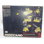 A Meccano 1980's No.5 construction gift set containing a quantity of various blue/yellow and base