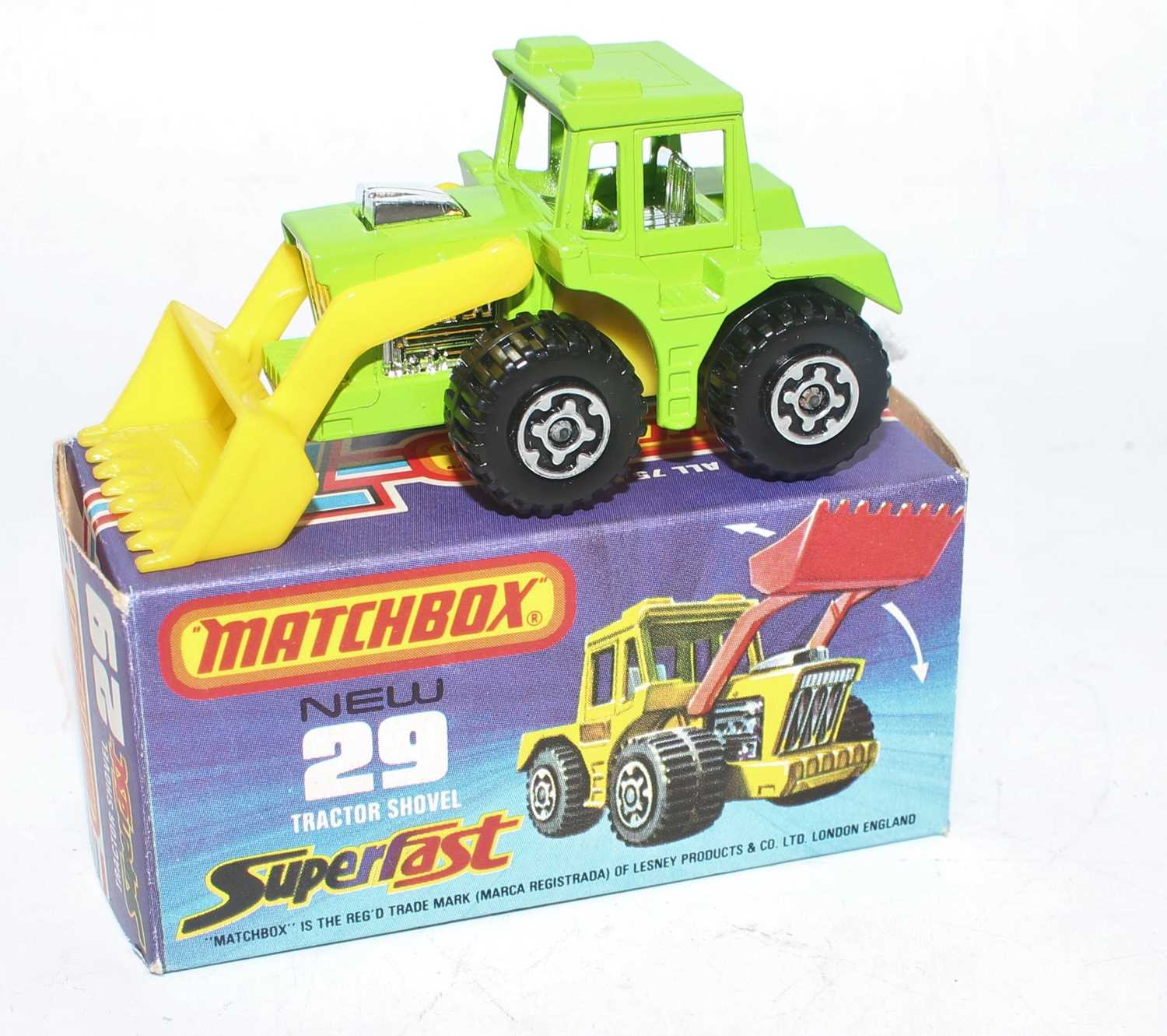 A Matchbox Superfast No. 29 tractor shovel finished in lime green with yellow shovel and yellow